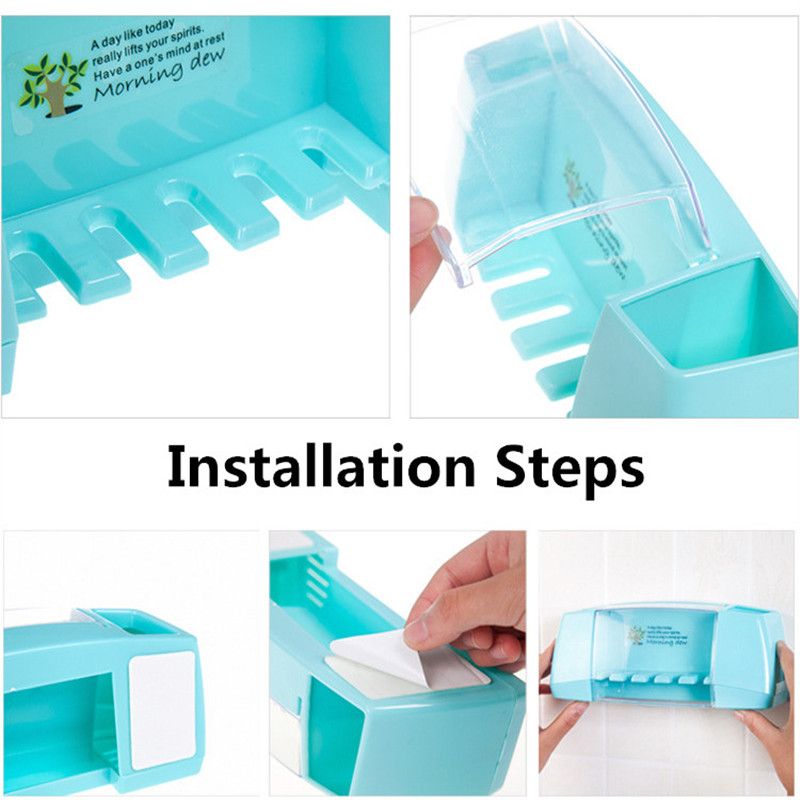 1pc Suction Hooks Toothbrush Holder Toothpaste Holder Bathroom Sets Tooth Brush Cup Container Bathroom Shelves Bath Accessories 5