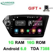 2017 Venta Directa Funrover Autoradio 1g + 16g Android 6.0 de Dvd Del Coche Navegación del Gps del reproductor Para Kia K2 Rio 2010 2011 Estéreo Radio
