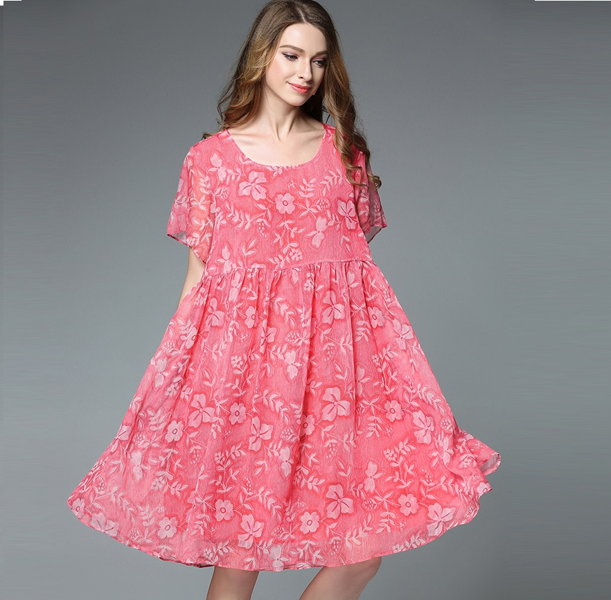 New2017Summer style loose fit floral chiffon dress women junior Plus ... 63631e12c345