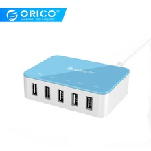 цена на ORICO 5-Port Desktop Charger With Power Adapter 5V 2.4A USB Charger for Xiaomi Huawei Pad iPhone Samsung Charging