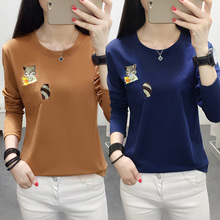 YUANYU Spring Autumn Women T Shirt Squirrel Embroidery  Casual Loose Long Sleeve pocket Tee Top Plus Size 5XL