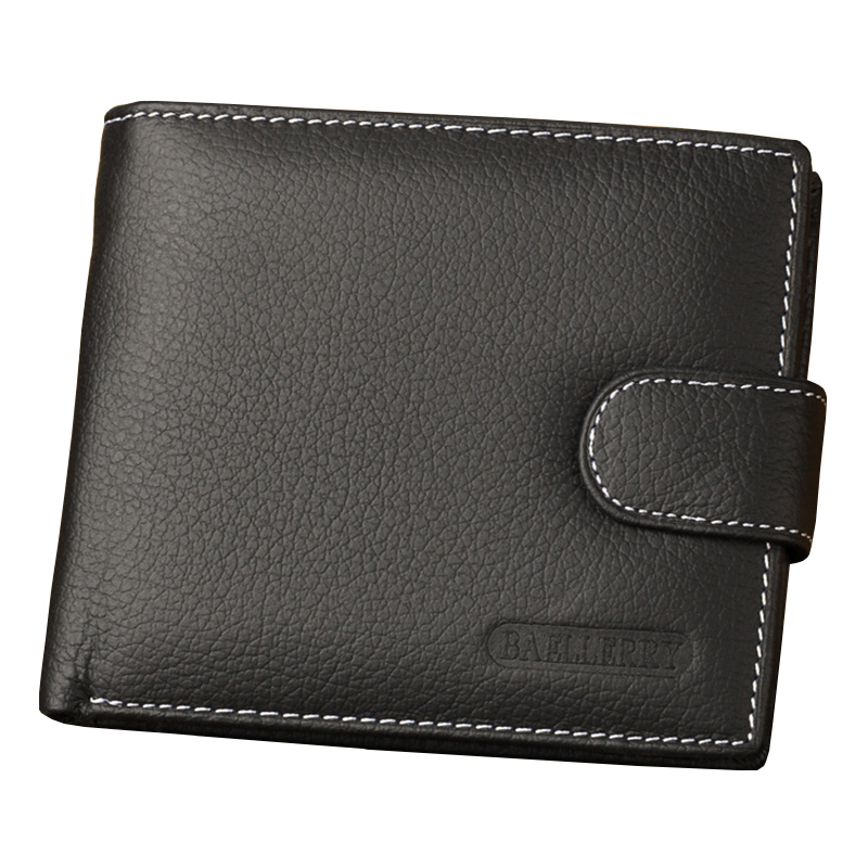 New Fashion Short Cow Leather Wallet Men's Wallets Coin Purse Credit Card Holder Business Black Practical Male Cowhide Wallets