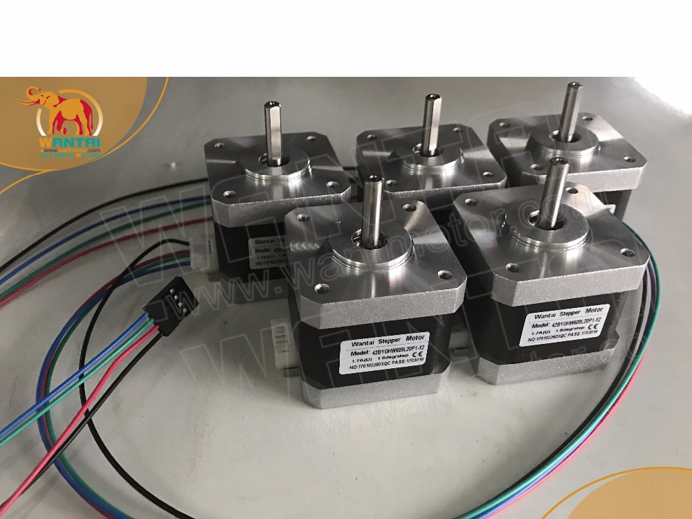 ФОТО (EU Ship,5-7days delivery)5PCS 3D Printer Motor Nema17,3400g.cm, 1.7A,connector 1M wire, 42BYGHW609L20P1-X2,Wantai Stepper motor