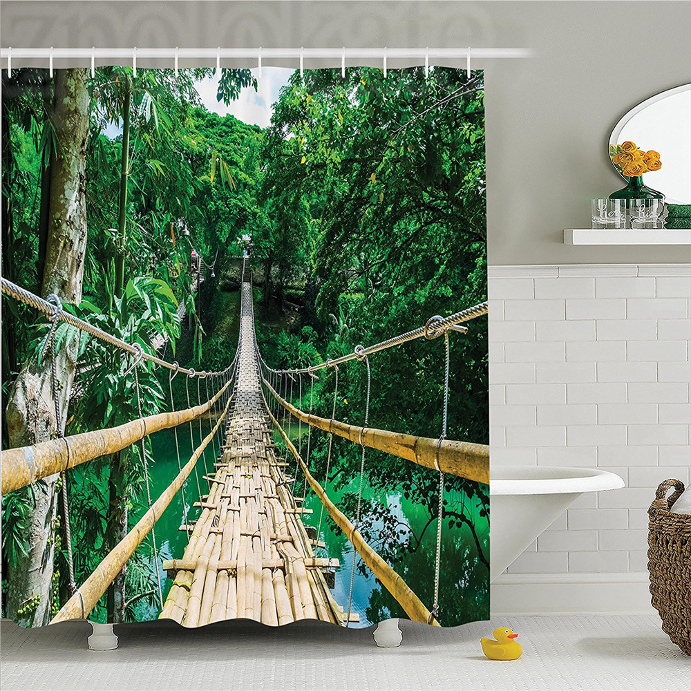 US $11 84 36% OFF|Tropical Decor Shower Curtain Set Bamboo Pedestrian  Suspension Bridge Over River In Tropical Forest Bohol Philippines Bathroom  A-in