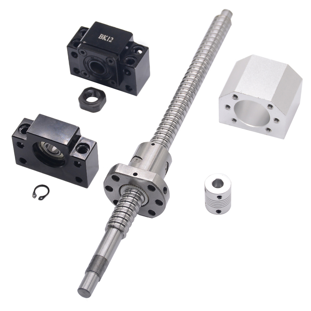 SFU1605 set:SFU1605 L200mm rolled ball screw C7 with end machined + 1605 ball nut + nut housing+BK/BF12 end support + coupler free shipping sfu1605 1300mm rolled ball screw c7 grade with 1605 flange single ball nut for bk bf12 end machined cnc parts