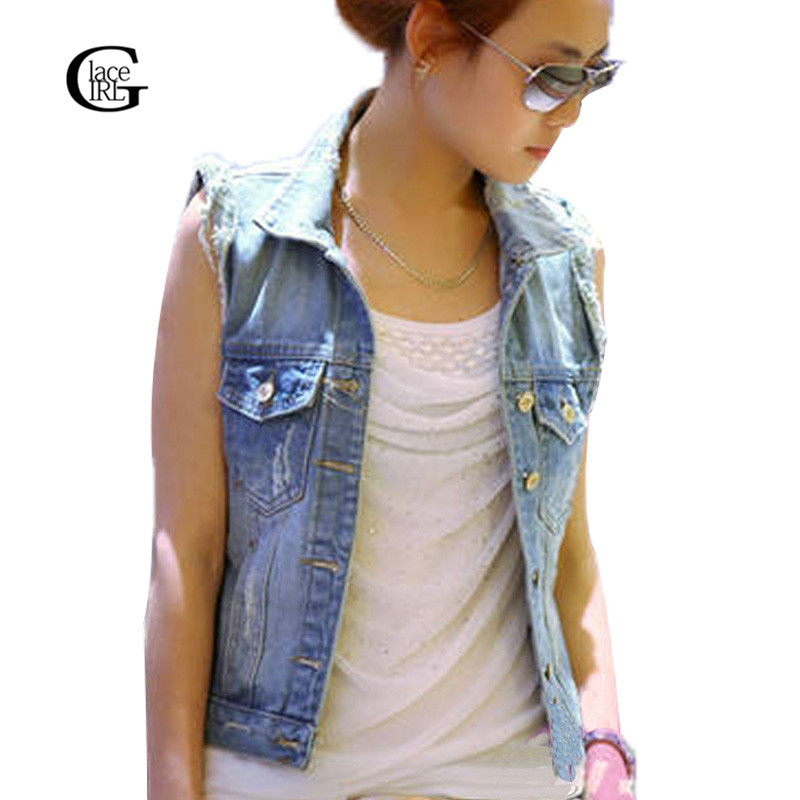 High Quality Women Short Sleeveless Denim Jacket Promotion-Shop ...