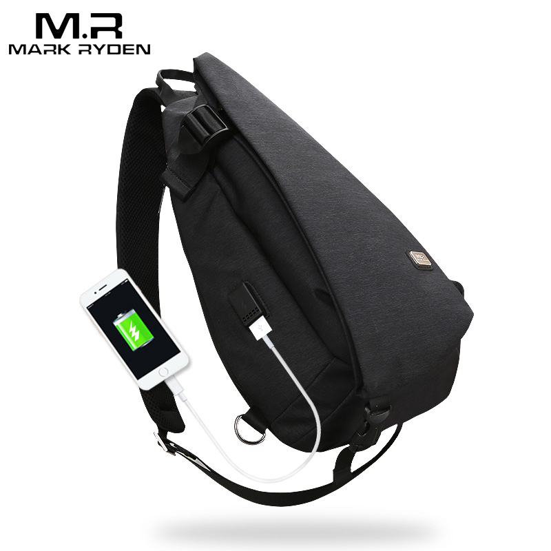 Suit Chest-Bag Shoulder-Bag Mark Ryden Usb-Design High-Capacity for Water-Repellent Men