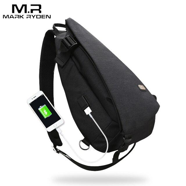 Mark Ryden New Arrivals USB Design de Alta Capacidade saco Peito Homens Crossbody Saco terno para 9.7 polegada Pad Repelente À Água bolsa de ombro