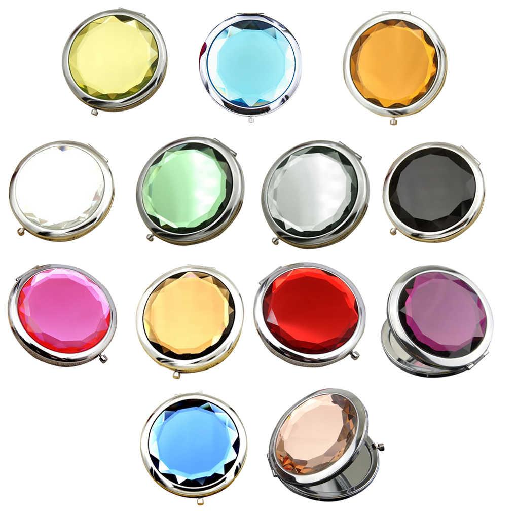 Hot Sale Women Crystal Mini Beauty Pocket Mirror Girls Makeup Portable Compact Round Folding Mirror