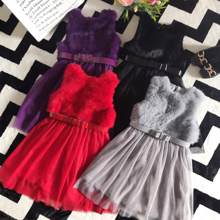 Girl Dress Princess Autumn Winter New Baby Girl Wedding Party Dresses Sleeveless Bow Tie Princess Vest Dresses Girl Party Dress