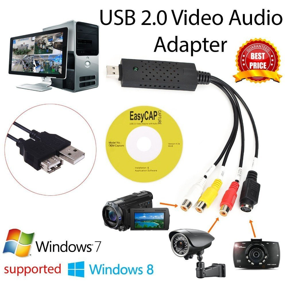 USB 2.0 Video Capture Card Converter PC Adapter TV Audio DVD DVR VHS For Window 2000 For XP For Vista For Win 7