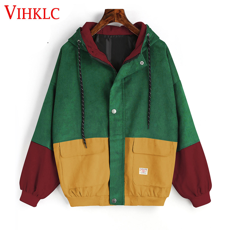 Women Hit Color Pocket Winter Warm Zipper Coat Outwear