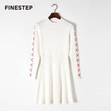 Spring Knitted Sweater Dress For Women 2018 Designer A Line Sweet Dresses