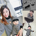 New Matching Family Clothes 2017 Family Look Striped Family Matching Outfits T Shirt Long Sleeve Cotton Girl Mother Son Clothing