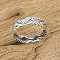 Silver jewelry handmade retro Silver Ring wide ring rope cross personality