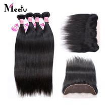 Meetu Straight Human Hair Lace Frontal Closure With 4 Bundles Peruvian Hair Weave Natural Black Non Remy Hair Free Shipping