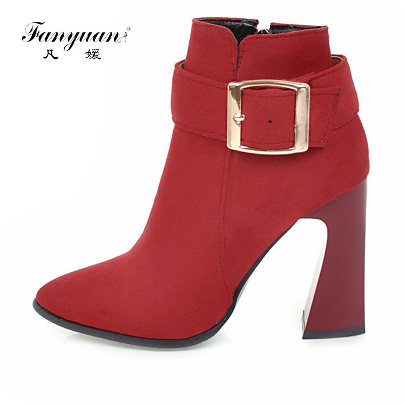 Fanyuan 2017  Velvet Women Ankle Boots Fashion Sexy Pointed toe Thick High Heel Boots Zipper Solid Winter Women Buckle Boots camel camel boots cowhide thick heel rivet velvet fashion pointed toe boots vintage casual thermal boots