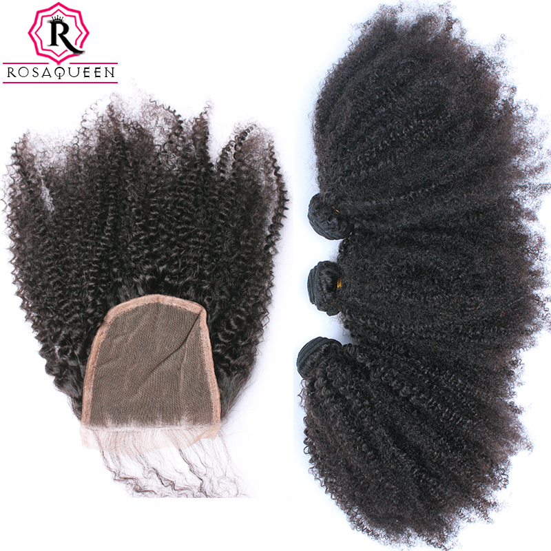 Mongolian Afro Kinky Curly Hair With Closure 4 Pcs 3 Rosa Queen Hair Products Bundles With Closure Human Hair Weave Remy
