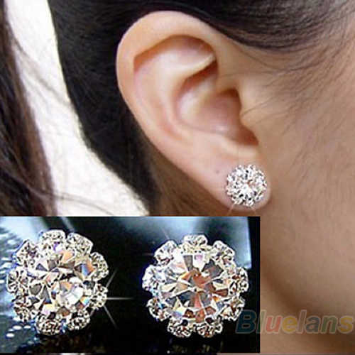 Shining spherical Crystal Flower Stud Earrings for Women Small orecchini Brincos aretes Ear Piercing Accessories Party Joyas