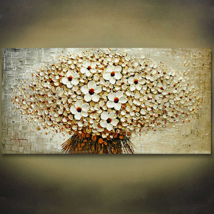 100% Hand-painted modern home decor wall art picture a bunch of beige flowers thick paint palette knife oil painting on canvas