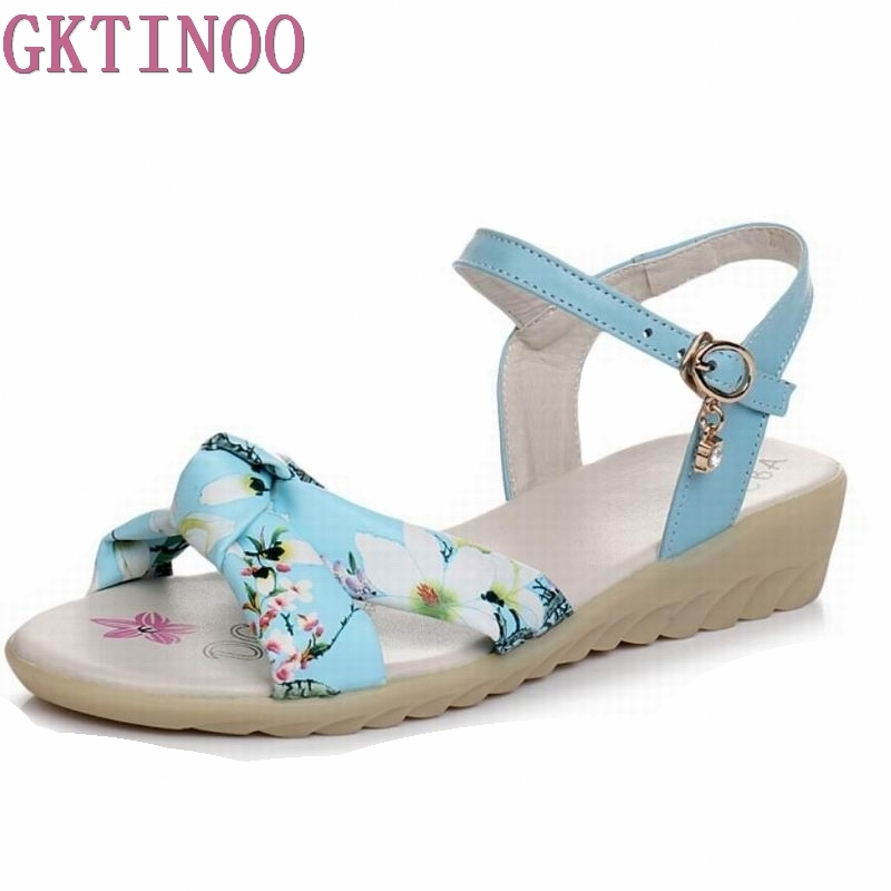 GKTINOO Cow Leather+Microfiber Women Sandals Fashion Summer Sweet Women Flats Heel Sandals Ladies Shoes large size 35-43 gktinoo genuine leather sandals women flat heel sandals fashion summer shoes woman sandals summer plus size 35 43 free shipping