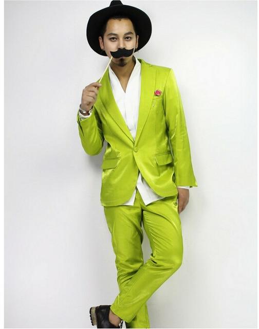 Новый Ночной Клуб DJ-Бар Певица флуоресцентный желтый зеленый этап костюм свадьба хост парикмахер яркие костюмы платье мужской Свадебный костюм