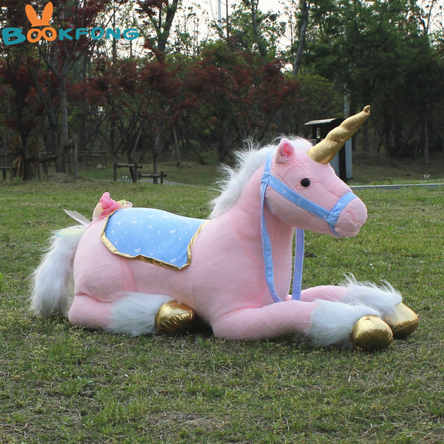 large stuffed animals lying unicorn plush toy pink doll high quality good gift Photography props