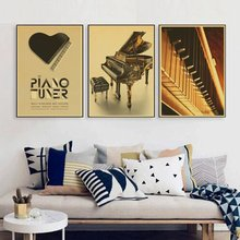 Sitting Room Piano Music Wallpaper Bedroom Study Creative Character Kids Room retro Poster Wall Poster Piano(China)