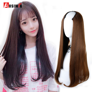 AOSIWIG 3 Colors Long Straight Half Wig For Female Party Halloween Synthetic High Temperature Fiber Cosplay Wig 长 发 内 扣 空气 刘海