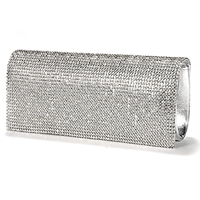 5pcs Of Handbag Evening Wallet Pouch Imitation Patent Leather Rabat Set With Rhinestone Silvery For Women