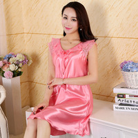 New Imitation Silk Nightgowns Satin Nightie For Women Lace Satin Nightgowns Sleepwear Silk Kit Ladies Night
