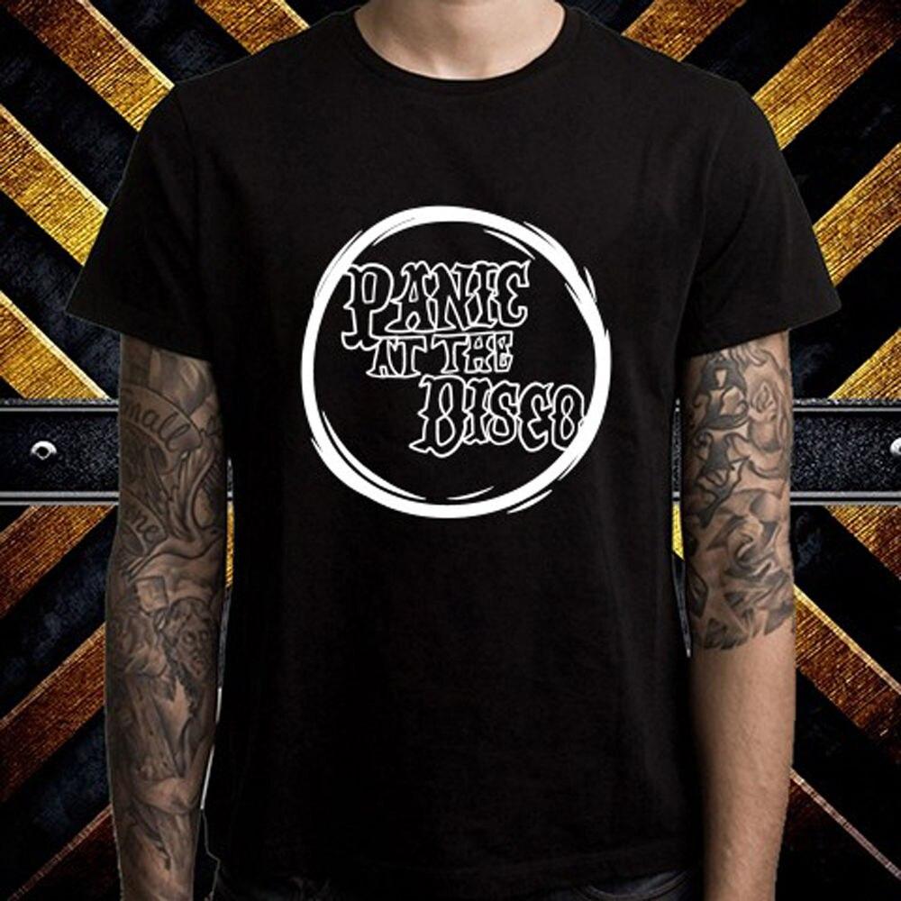 Customised T Shirts MenS Short Sleeve Zomer Crew Neck Panic! At The Disco Logo American Rock Band T Shirts