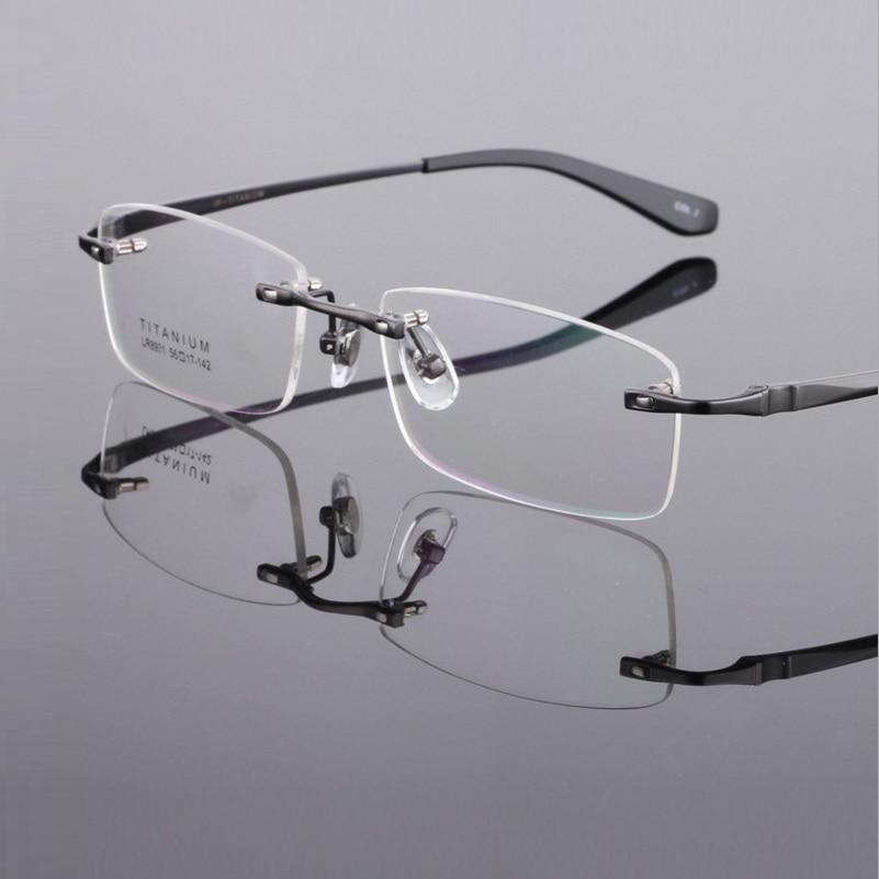 width-145 Pure titanium rimless big face business man male myopia eyeglasses frame Spectacle frame eyewear 8931 oculos de grau