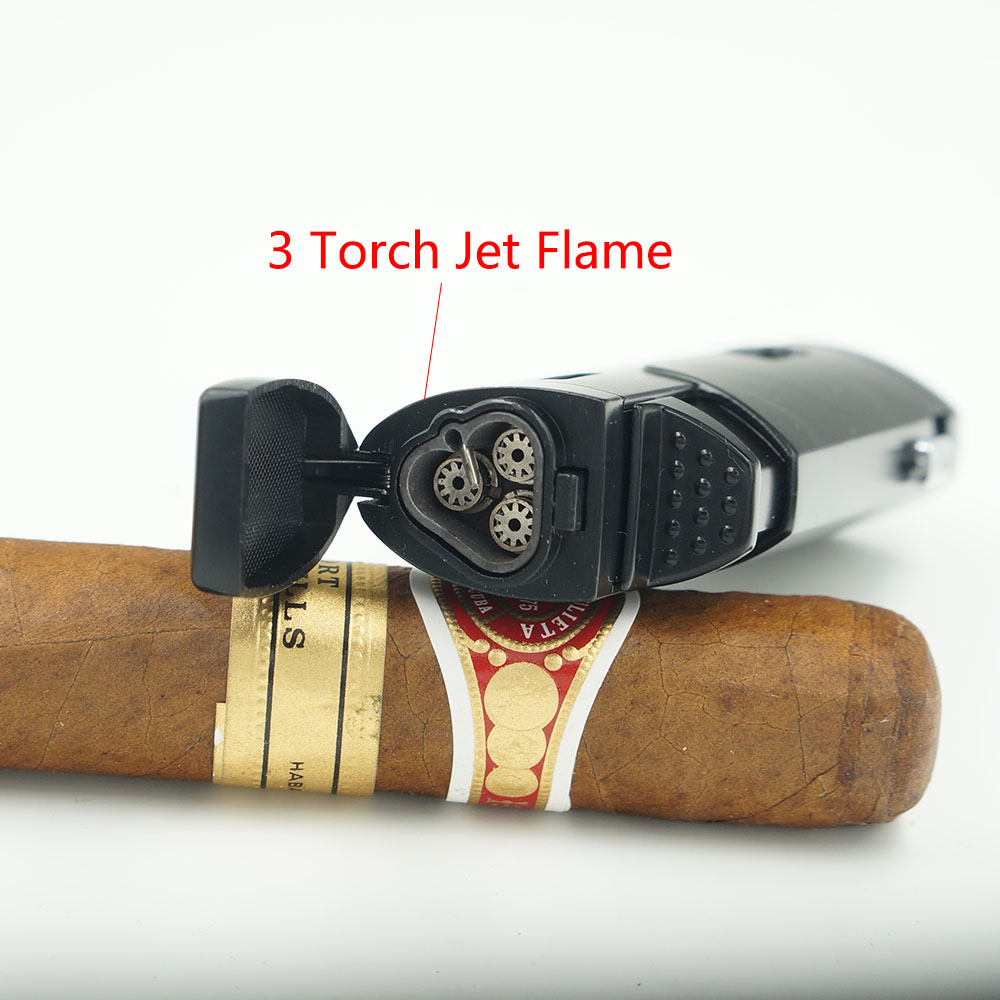 Cohiba Torch Lighter Triple Jet Flame With Cigar Punch Emas Spec Perfore Silver Keychain Pembolong Cerutu Elegant Metal Butane Gas 3 Cigarette Lighters Gift