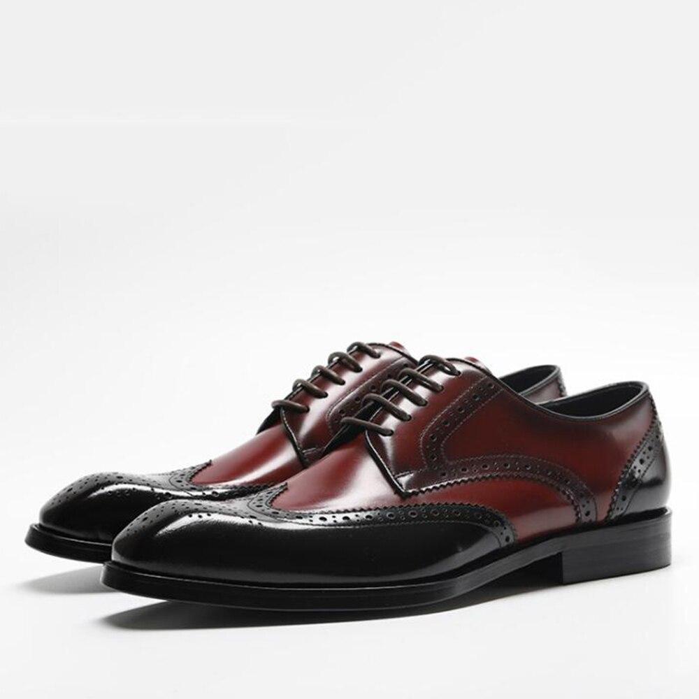 Sipriks الأزياء ريال جلد مختلط الألوان البروغ حذاء أيرلندي Oxofrds قمة الجناح اللباس أحذية الأعمال العمل حزب الأسود النبيذ الأحمر رمادي كحلي-في أحذية رسمية من أحذية على  مجموعة 1