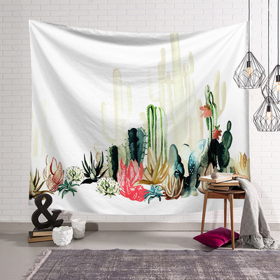 Sea Fish Pink Wall Hanging Cactus Tapestry Bohemian Cover Beach Towel Throw Blanket Picnic Yoga Mat Home Decoration Textiles