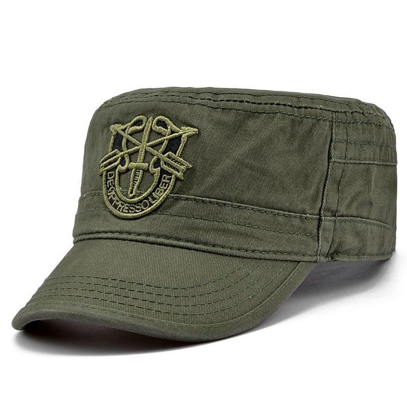 aefc8b03ba26e LongKeeper Tactical Caps for Men Flat Top Army Hats Army Baseball Caps  Retro Vintage Adjustable Hat Camo Black Navy JU5