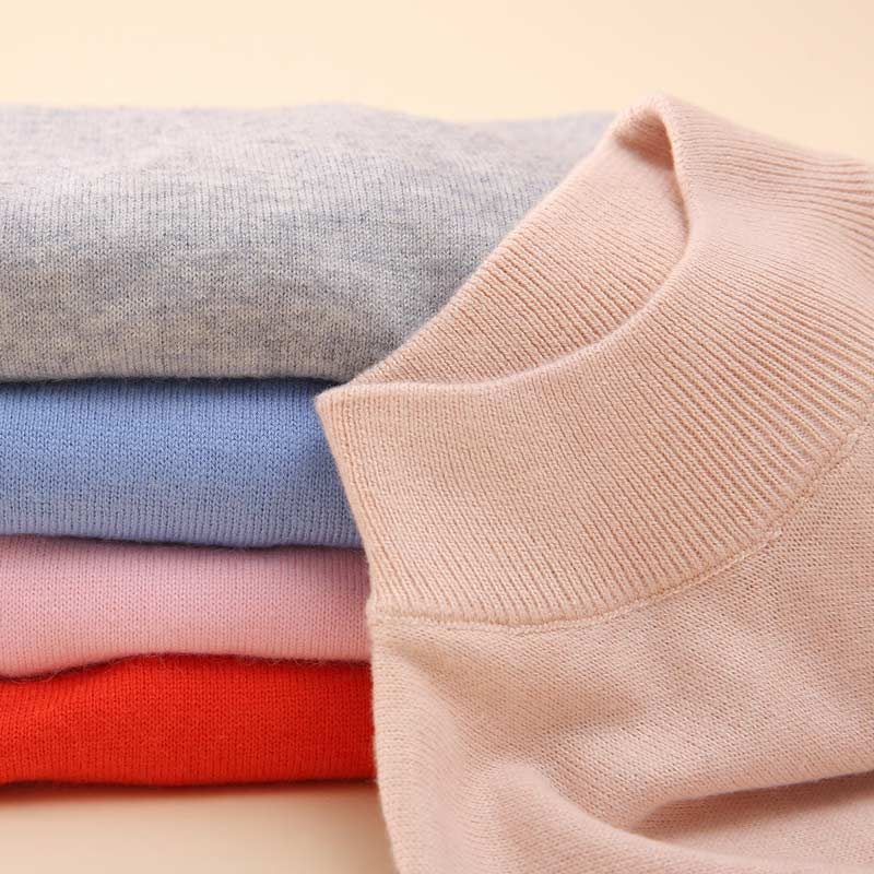 2019 primavera e outono novo estilo pulôver mock-neck suéter feminino curto manga longa camisola fina bottoming sh