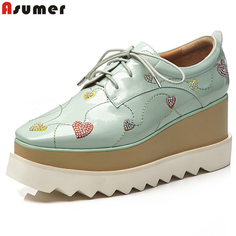 ASUMER Genuine leather shoes women pumps lace up wedges shoes round toe platform shoes high quality