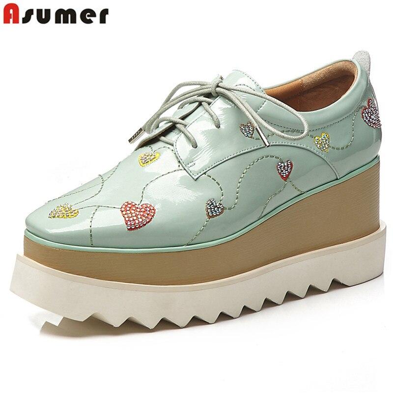 Ayakk.'ten Kadın Pompaları'de ASUMER Hakiki deri ayakkabı kadın pompaları lace up takozlar ayakkabı yuvarlak ayak platform ayakkabılar yüksek kalite bayanlar moda ayakkabılar kadın'da  Grup 1