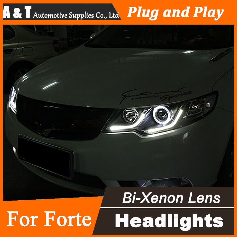 Car Styling for Kia Forte LED Headlight Cerato Bi Xenon Headlights drl Lens Double Beam H7 HID Parts