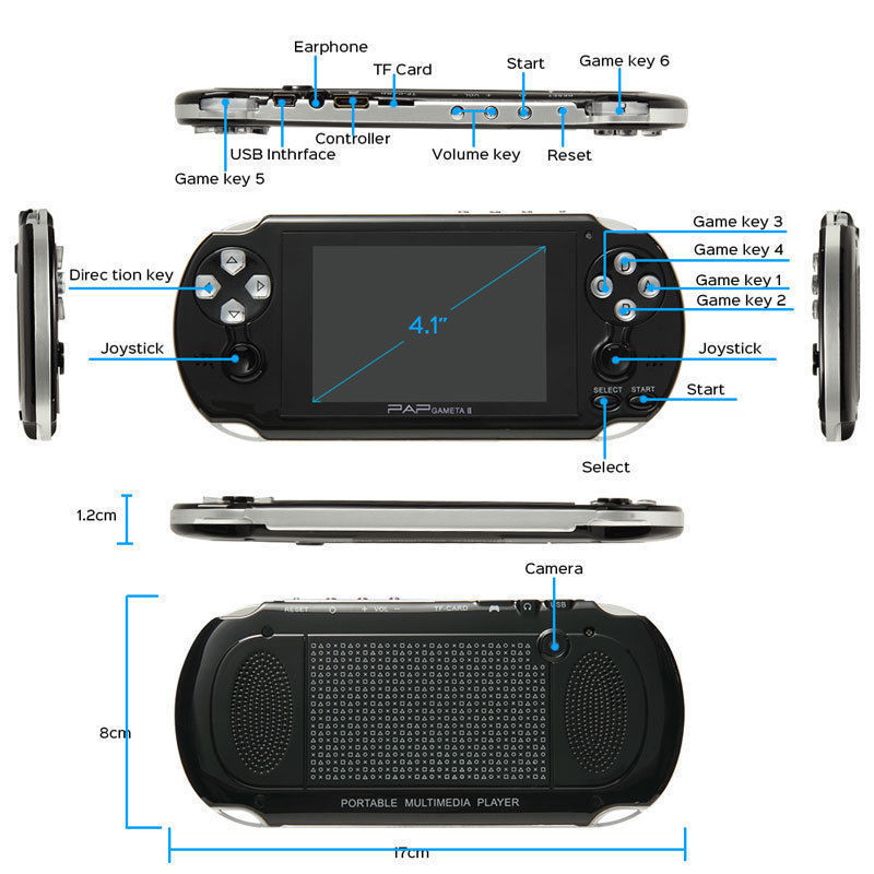 64Bit 4.3inch PAP Gameta II Plus 16G HDMI Built-In 3000 Games MP4 MP5 Video Game Consoles Wireless Handheld Player 1
