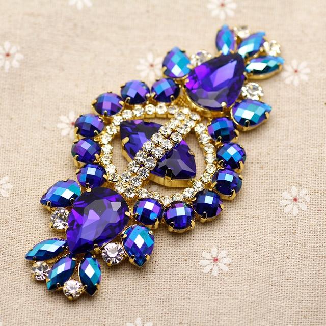 12 5.8cm Glass+resin Blue AB rhinestone applique Gold Base wedding Dress  Belt Rhinestone Chain Sew on Party Dress Decoration 3b4c2f8e12ba