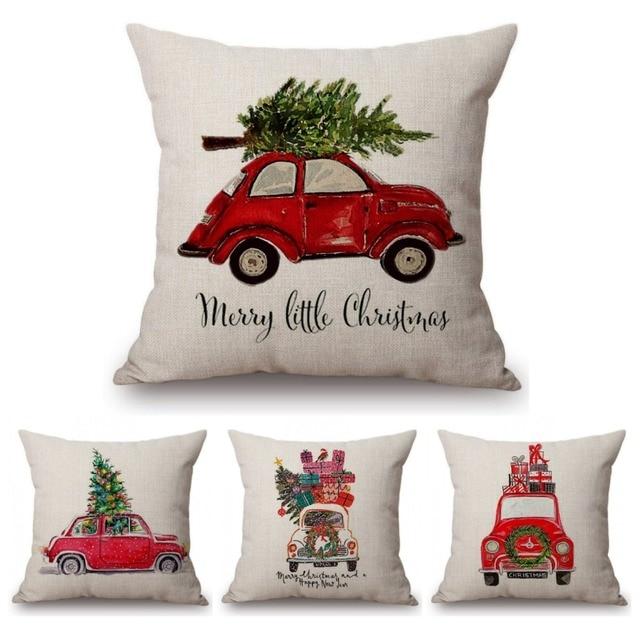 Acquerello Di Natale Cars Stampa Casa Cuscino Decorativo per Divano Di Natale De