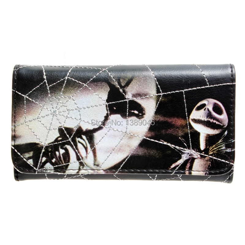 The Nightmare Before Christmas wallet lady long fashion purse  DFT-1301 long style pu wallet of the nightmare before christmas skull jack with button and multi layer
