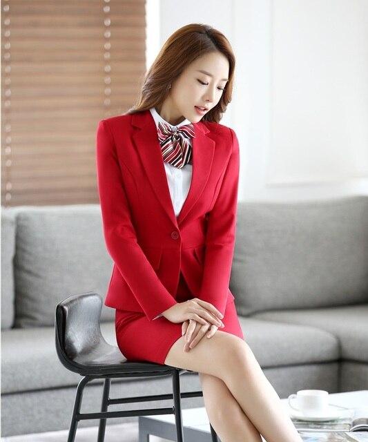 Formal Wanita Bsuienss Suits dengan Rok dan Jaket Set Merah Blazer Wanita  Setelan Pakaian Kerja Kecantikan 55afc1cf4f