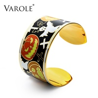 VAROLE Hallows' Day Enamel Cuff Bangle Can Opening Bracelets Bangles For Women Fashion Jewelry Pulseiras Feminina Gift