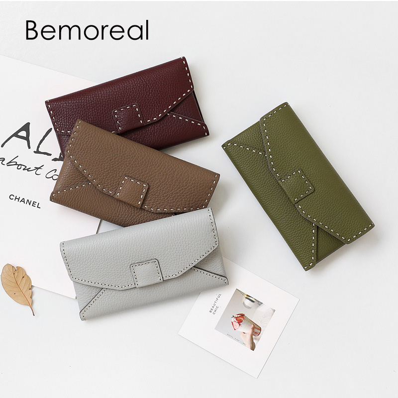 Bemoreal Wallet women Genuine Leather cowhide card holder clutches ladies coin purse luxury fashion envelope long purses-in Wallets from Luggage & Bags    1