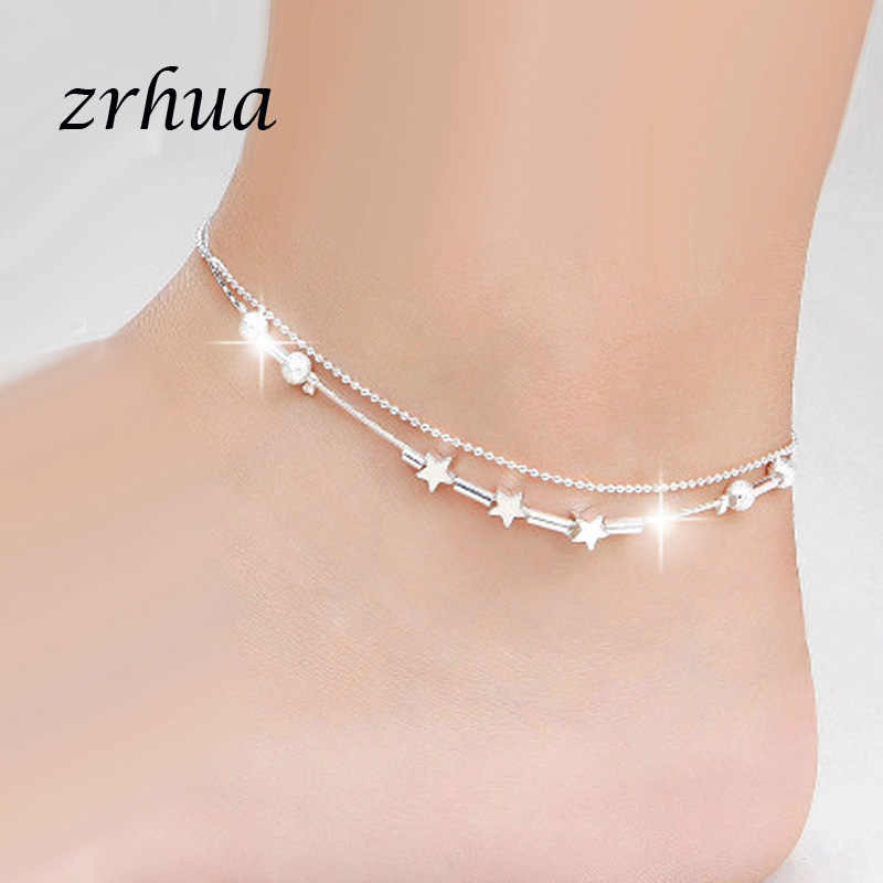 ZRHUA Beach Multilayer ลูกปัด Anklets