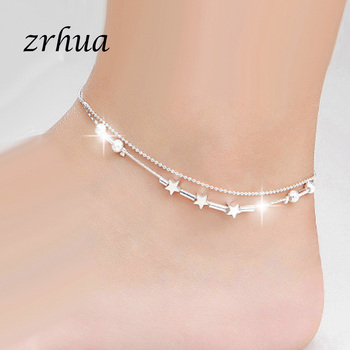 ZRHUA Beach Multilayer Star Beads Anklets Foot Chain 925 Sterling Silver Foot Anklet Bracelet For Fashion Women Jewelry